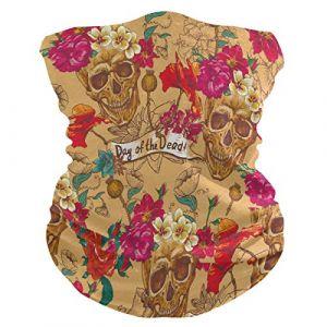 QMIN Bandeau Vintage Tête de Mort Rose Fleur Feuilles Bandana Visage Soleil Protection Masque Cagoule Magique Cagoule pour Femmes Hommes Garçons Filles (QMIN, neuf)