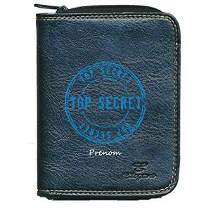 Porte monnaie porte carte noir Motif Top Secret personnalise avec prenom (sylla city, neuf)