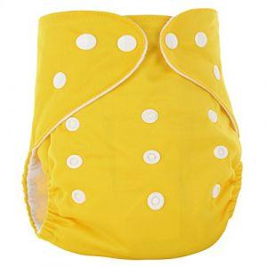 Happy Cherry Couche Lavable Bébé Fille Garçon - Couche-Culotte Respirant Anti-Fuite Culotte d'Apprentissage Imperméable Bouton Taille Réglable Imprimé (Sans Insert) 3-15kg Jaune (OUJINGEU, neuf)