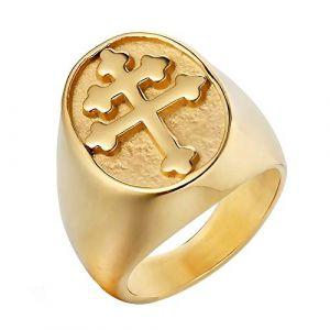 BOBIJOO Jewelry - Bague Chevalière Homme Croix de Lorraine Patriarcale Acier Inoxydable Plaqué Or - 58 (8 US), Doré Or Fin - Acier Inoxydable 316 (ANGELYK, neuf)