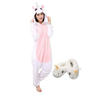 Adulte Kigurumi Pyjama Licorne Unisexe Anime Animal Costume Cosplay Combinaison Pyjama ou Déguisement (S, Rose-Chausson) (Mescara, neuf)