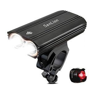 Nestling Eclairage Avant, 2*LED CREE XM USB Rechargeable LED Phare Lampe pour Vélo Puissante,2400 Lumens Lumière, Multi Modes d'éclairage, Antichoc Impermeable IP65 (TTRwin-EU, neuf)