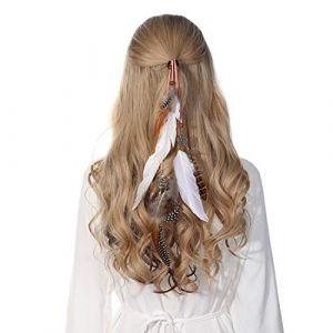 Bandeau en plumes coiffe hippie indienne - coiffes en plumes à gland Boho pour femmes Costume Festival chapeaux (Blanc) (anjerry, neuf)