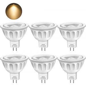 MR16 GU5.3 LED Ampoule, Blanc Doux 3000K, 5W Equivalent à 50W lampe halogène, AC/DC 12V, 450LM, 40° Angle, Non Dimmable Boxlood?Lot de 6? (Boxlood Lighting Store, neuf)