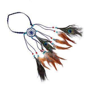 Lurrose Bandeau en plumes de paon bohémien, coiffe de Dreamcatcher, coiffe amérindienne, accessoires de cheveux en plumes (bleu) (Veronicoar, neuf)