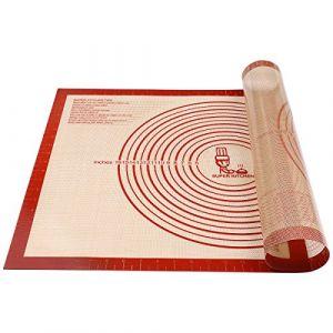 Tapis à pâtisserie en silicone antidérapant Extra Large avec mesures 71 × 51 cm pour tapis de cuisson, Tapis de comptoir, Tapis de pâte à rouler, Placement/fondant/Tapis de la croûte à tarte (Rouge) (Vnraykitchen, neuf)