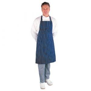 Les Blancs Chefs Apparel A530Boucher Bavoir tablier, Bleu marine à rayures (CATERING dept., neuf)