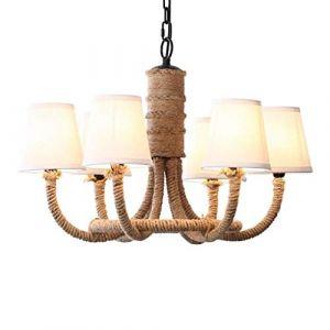 Dicai Bague Chanvre Corde Lustre Rétro Ferme Style Pendentif Éclairage Vintage Plafonnier Rond Plafonniers avec Verre Shade Pendant Lamp (Xin Hongming, neuf)