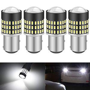 KATUR 1157 BAY15D 1016 1034 7528 Ampoule LED 900 Lumens 3014 78SMD Lentille Ampoules LED pour feu Stop Clignotant Feu arrière Double feu arrière, Blanc Xenon (Pack de 4) (KAtur, neuf)