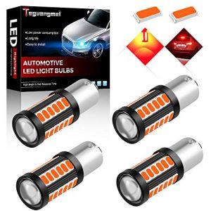 Teguangmei 4pcs 1156 BAU15S 7507 PY21W 5630 33SMD Ampoules à LED Rouge vif Super Lumineux 900Lumens Lumière de Recul Lumière deFrein Feu Stop Voyant 12-30V 3.6W (TeguangmeiEUR, neuf)