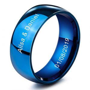 MeMeDIY 8mm Bleu Acier Inoxydable Anneau Bague Bague Mariage Amour Taille 60 - Gravure personnalisée (MeMeDIY, neuf)