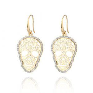 Boucle d'oreille Dangle pour les femmes, boucles d'oreilles de goutte de crâne Boucles d'oreilles or ou argent avec boucle d'oreille en cristal CZ en acier inoxydable (Plaqué or) (OuRan Jewelry, neuf)