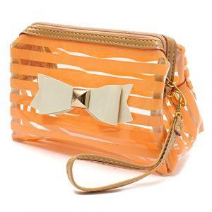 Yanshan Cravate d'arc de PVC de voyage de sac de cosmétique transparent de maquillage organisent le cas d'organisateur (Color : Color Orange) (Yanshan, neuf)
