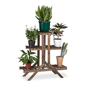 Relaxdays 10020749  Etagère à fleurs en bois escalier pour plantes échelle 3 étages 5 places HxlxP: 82,5 x 83 x 28,5 cm brun foncé