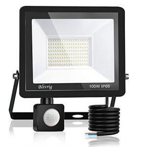 Blivrig Projecteur LED détecteur de mouvement 100W,10000LM IP66 Imperméable Spot LED Extérieur Puissant,Blanc Chaud(3000K) eclairage exterieur led pour Jardin Terrasse Garage Patio Grange Cour (Fourtry, neuf)