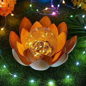 Everpertuk Lampe Solaire Fleur de Lotus,Décoration Solaire Craquelé Ambre Lampe,D'extérieur Lotus étanche en Métal Lampe,Lampes Décoratives Pour Jardin, Clôture, Pelouse Chemin (C) (Everpertuk, neuf)