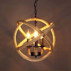 Dicai E14 3-lumières chanvre corde lustre boule rétro américain style rustique suspendu île pendentif luminaire en métal bougeoirs pour Farmhouse Warehouse Restaurant Club (Xin Hongming, neuf)