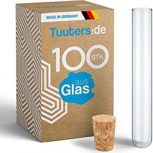 100 x Eprouvettes en verre de laboratoire avec des bouchons en liège aggloméré | Tubes à essai | Paroi épaisse ? (160 x Ø16 mm) (Tuuters, neuf)