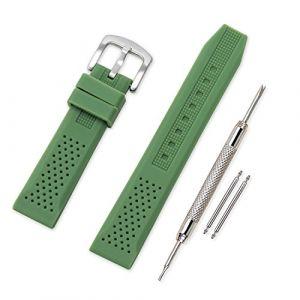 Vinband Bracelet Montre Haute Qualité Remplacer Silicone Bracelet Montre - 16mm, 18mm, 20mm, 22mm, 24mm Caoutchouc Montre Bracelet avec Acier Inoxydable Boucle (16mm, Vert) (vinband direct, neuf)