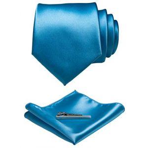 JEMYGINS Cravate Homme Bleu Clair en Soie Brillant Tissu doux Mariage et Pinces à cravate et Carre de poche Ensemble Compris boîte(12) (JEMYGINS Tie Official Store, neuf)