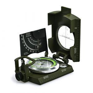 Proster Boussole Militaire Professionnelle Imperméable en Métal avec Clinomètre Housse de Transport pour Camping Hiking Randonnée Géologie Activités de Plein Air (Vert foncé) (serakadig, neuf)