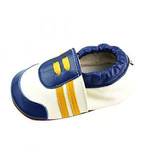 LSERVER Chaussure en Cuir Souple Chaussons Pour Enfant Bébé Garçon Fille, Jaune - Bleu, M (6-12 Mois, longue interne: 12.5cm) (SXSHUN-EU, neuf)