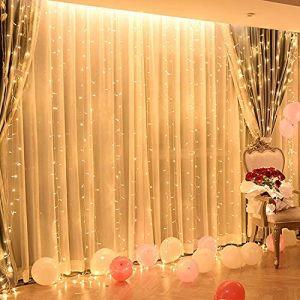 Silingsan Rideau Lumineux, 6 x 3M 600 LED Guirlande Lumineuse 8 Modes Imperméable Antigel Energetisch pour Mariage Fête Noël Maison Intérieur Extérieur Blanc Chaude (Silingsan, neuf)
