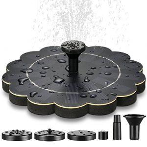 Fontaine solaire pour bassin de bassin avec 4 buses différentes, pompe à eau solaire, fontaines flottantes pour étang de jardin, balloir, récipient à poisson, petit bassin, version de mise à niveau (ECO-5STAR, neuf)