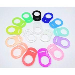 Bague en silicone (adaptateur) pour tétines - porte-tétines pour chaînes en silicone souple - 100% sans BPA (transparent) (glückspakete, neuf)