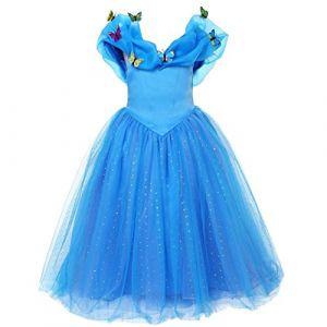 ELSA & ANNA® Filles Reine des Neiges Princesse Partie Costumée Déguisements Robe de Soirée FR-FBA-CNDR4 (8-9 Ans, FR-CNDR4) (UK1STCHOICE-ZONE, neuf)