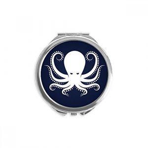 DIYthinker octopus marine life noir motif blanc miroir rond maquillage de poche à la main portable 2,6 pouces x 2,4 pouces x 0,3 pouce Multicolore (bestchong, neuf)