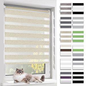 BelleMax Store Enrouleur Jour Nuit, Tissu Double, 70 x 190 cm Lin, Rideau sans Perçage, Translucide, Protection Vie privée (BelleMax, neuf)