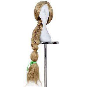 Nouvelle perruque de cosplay Raiponce emmêlée Halloween jeu de rôle longue queue de cheval Cos cheveux adulte tresse blonde perruque synthétique + bonnet de perruque emmêlé comme l'image (bilichuanzd, neuf)