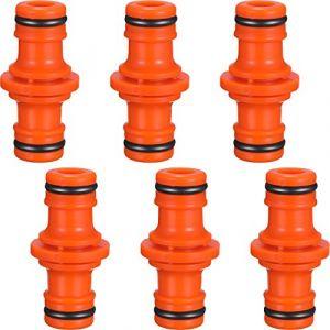 6 Pièces Double Connecteur de Tuyaux Mâles Raccords de Tuyaux pour Rejoignez le Tube de Tuyaux de Jardin (Orange) (ZHANMAI FR, neuf)