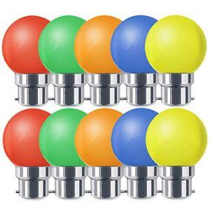 Ampoules baïonnette B22 - Paquet de 10 ampoule LED Feston 1 W (équivalent 10W), ampoule écoénergétique écoénergétique colorée verte, petites ampoules de Noël BC Cap (Suncan, neuf)