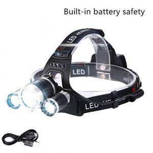Lightess Lampe Frontale LED Rechargeable Super Puissante Torche Portable Etanche Ultra Chargeur USB 2000LM 4 Modes 3*XML-T6 pour Pêche de Nuit Vélo Cave VTT Exploitation de Mine Jogging (Glighone, neuf)