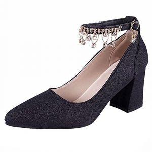 c3650b186a20fb OSYARD Femme Escarpins Bride Cheville Sexy Talon Aiguille Plateforme Epais  Fermeture Lacets Chaussures Club Soiree(