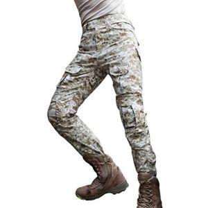 YuanDiann Homme Tactique Pantalon De Camouflage Militaire Multi-Poches Respirant Imperméable Armée Battle Trekking Chasse Randonnée Camping Treillis Cargo Travail Pantalon Désert Numérique 30 (Doubjoy, neuf)