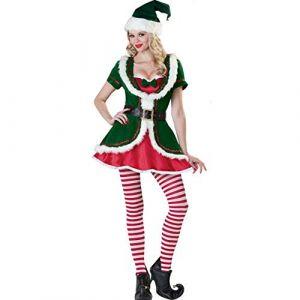Zhuchao Cosplay Costume de Noël Femme Vert Elfe Adulte Lady Sexy Show Costume de Noël Uniforme de Game Costume de Père Noël Assistante, Une Taille (Zhuchao, neuf)