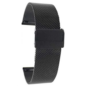 Bandini 22mm Bracelet de Montre Maille en Acier Inoxydable pour hoome - Noir - Bracelet de Montre de Remplacement en Maille métallique Fine - Longueur Ajustable (Shoptictoc., neuf)
