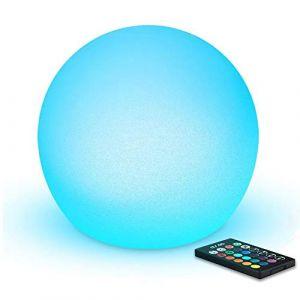 Mr.Go LED Boule Lumineuse Sphère Lumière, 20cm Ball Lampe, Changement de Couleur, 16 RGB Couleurs, Dimmables Veilleuse avec Télécommande & Batterie Rechargeable (Mr.Go, neuf)