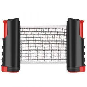 Tencoz Filet de Ping Pong, Filet de Tennis de Table Rétractable pour Table d'extérieur Filet Réglable Filet de Voyage Portable, Accessoires pour Intérieur et Extérieur(Noir Rouge) (XH-Store, neuf)