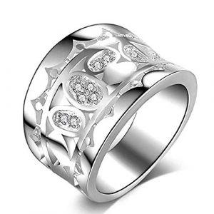 KEATTL Bague Femme,Exagéré Rétro Diamant Creux Couronne Modèle Large Anneau Bijoux Cadeau (7, Argent) (KEATTL, neuf)