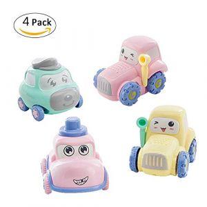 Voiture de génie de voiture de jouet d'enfants Voiture de jouet éducatif de petite bande de dessin animé épaissie pour le bébé Véhicule Miniature Mignon à Friction Camion Voiture de jouet de bébé Puzz (flower205, neuf)