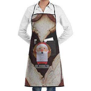 Tablier de Noël en bois décor coeur coeur dentelle unisexe hommes femmes chef réglable Polyester longue cuisine tabliers bavoir (Wheatleya, neuf)