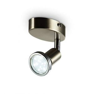 B.K. Licht plafonnier LED 1 spot orientable finition nickel matte, applique murale LED salon salle à manger cuisine couloir chambre bureau, ampoule LED 3W GU10 incl., 250 Lm, lumière blanche chaude 3000K, 230V, IP20 (B.K.Licht, neuf)