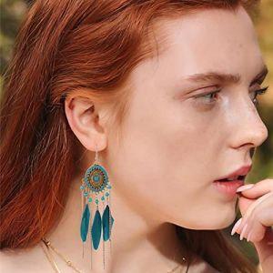 Bohend Boho Plume Gland Des boucles d'oreilles Or Longue Turquoise Boucle d'oreille Bohême Voyage Plage Chaîne de perles Accessoires d'oreille pour Femmes et filles(Bleu) (Bohend-EU, neuf)