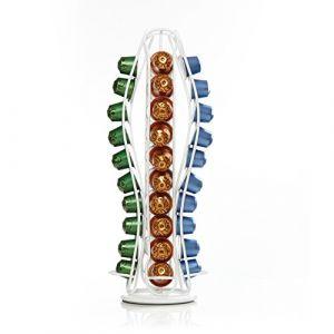 Lumaland Cuisine Support de capsule métallique bombé rotatif pour capsules de café Nespresso blanc bombé (Lumaland Vertriebs GmbH, neuf)