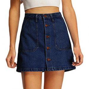 jean femmes, Toamen cowboy Mini taille haute courte Poches sexy Jupe en jean Été (L, Bleu) (Toamen, neuf)