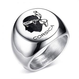 BOBIJOO Jewelry - Bague Chevalière Emblème Corse Tête de Maure Corsica Acier Inoxydable Argenté - 60 (9 US), Acier Inoxydable 316 (ANGELYK, neuf)